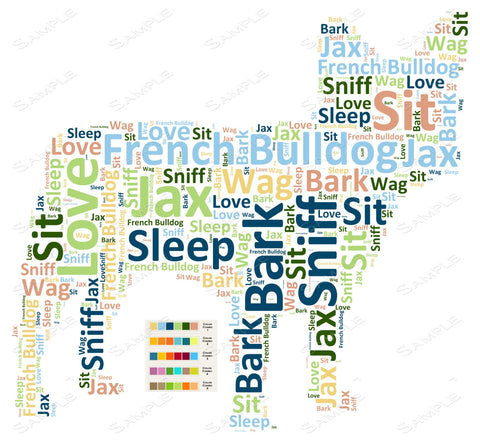 PERSONALIZED French Bulldog Word Art French Bulldog Dog 8 x 10 Print French Bulldog Pet Gifts Many More Breeds Avaliable