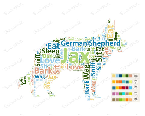 PERSONALIZED German Shepherd Word Art German Shepherd Dog 8 x 10 Print German Shepherd Pet Gifts Many More Breed Available