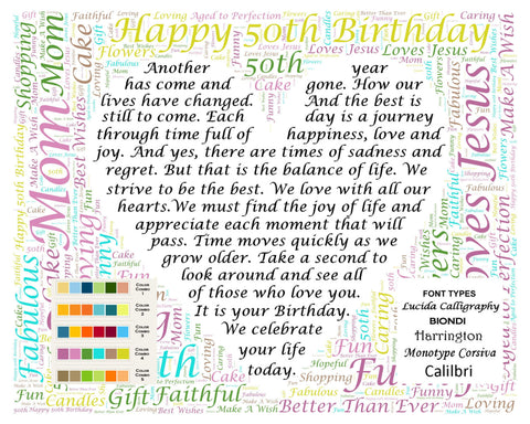 Personalized 50th Birthday Poem Word Cloud Art Gift 8 X