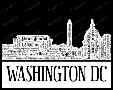 Washington DC Skyline Art 8 x 10 Print