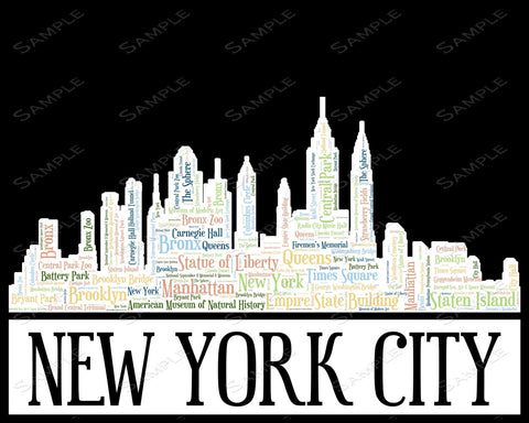Personalized New York Skyline Birthday Gift Word Art 8 X 10 Print 21st 30th 40th