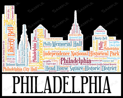 Philadelphia City Skyline Philadelphia Souvenir Word Art 8 x 10 Print Assorted Colors Philly Philadelphia Word Art Gift Print