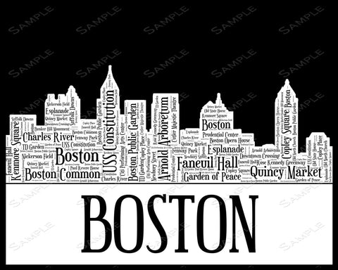 Boston City Skyline Boston Souvenir Word Art 8 x 10 Print Boston White & Black Word Art Gift Print