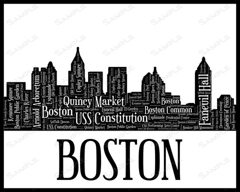 Boston City Skyline Boston Souvenir Word Art 8 x 10 Print Boston Black & White Word Art Gift Print