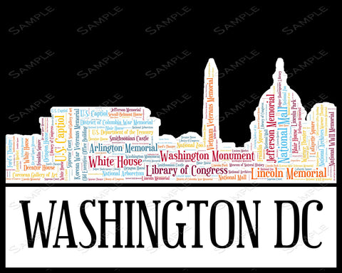 Washington DC Skyline Washington DC Souvenir Word Art 8 x 10 Print Washington DC Assorted Colors Word Art Gift Print