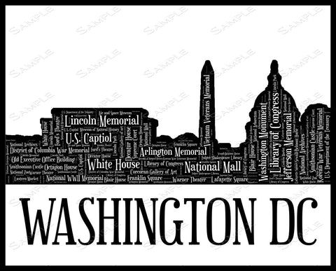 Washington DC Skyline, Washington DC Souvenir 8 x 10 Print