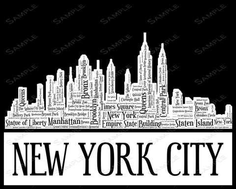 New York City Skyline New York City Souvenir Word Art 8 x 10 Print New York City White & Black Word Art Gift Print