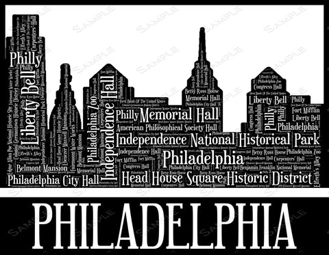Philadelphia City Skyline, Philadelphia Souvenir Wall Art 8 x 10 Print