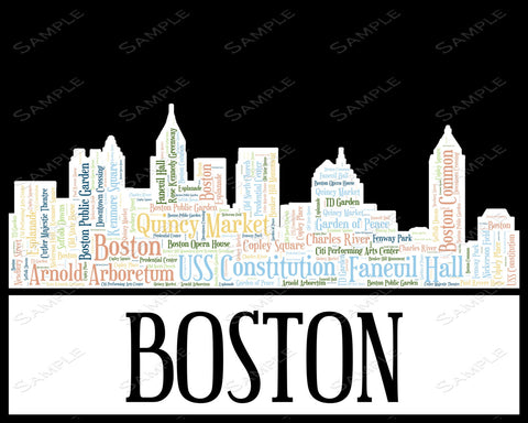 Boston City Skyline. Boston Souvenir Word Art 8 x 10 Print. Boston Assorted Colors Word Art Gift Print