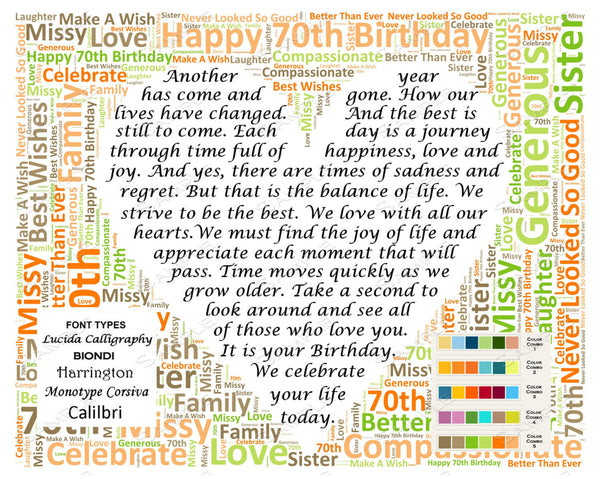 Personalized 70th Birthday Poem 70th Birthday Word Art