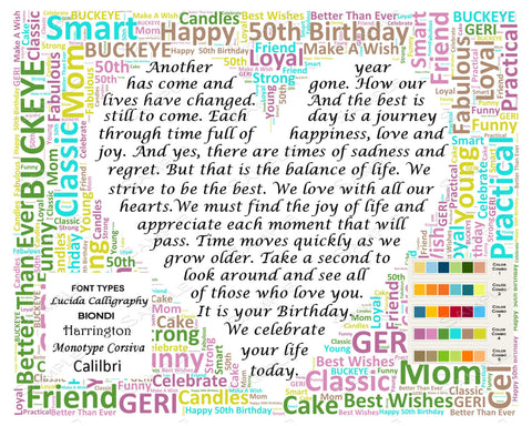 Personalized 50th Birthday Poem 50th Birthday Word Cloud Art 8 X 10 Unique 50th Birthday Gifts Digital JPG