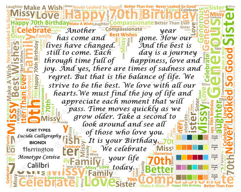 Personalized 70th Birthday Gift Poem Unique Gifts Word C