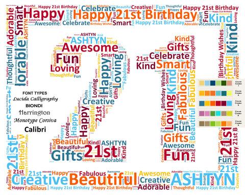 Personalized 21st Birthday Gift Word Art 8 X 10 Print Unique