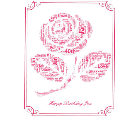 Birthday Gift Birthday Rose Word Art - 8 x 10 Print 16th 30th 50th 60th 70th 80th Birthday Gift Ideas