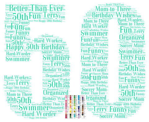 50th Birthday Gift 50th Birthday Word Art - 8 x 10 Print Fifty Birthday Gift Ideas