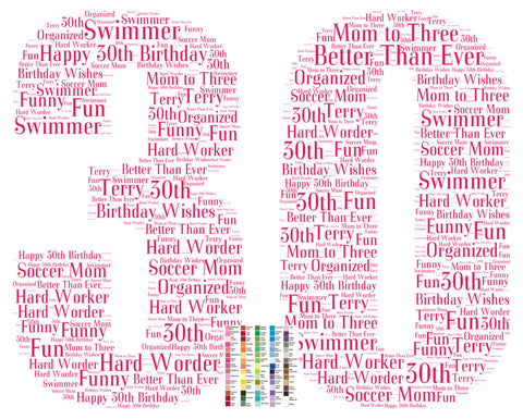 30th Birthday Gift. 30th Birthday Word Art - 8 x 10 Print. Thirty Birthday Gift Idea