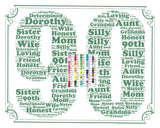 Personalized 90th Birthday Word Art Birthday Print - 90th Birthday Gift 8 x 10 Ninety Birthday Gift Ideas