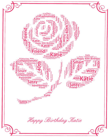 Personalized 40th Birthday Gift 40th Birthday Rose Word Art - 8 x 10 Print Forty Birthday Gift Ideas