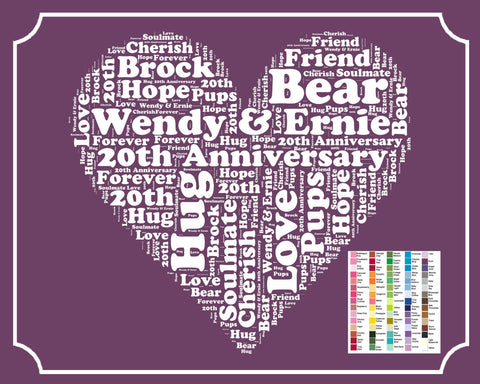 Personalized 20th Anniversary Gift Word Art Print - 20th Anniversary Gift 8 x 10 20 Anniversary