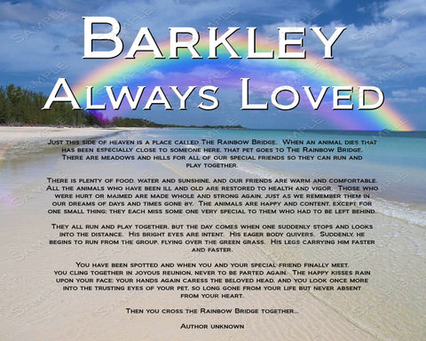 Pet Memorial Gift for Dog or Cat or Any Pet. Rainbow Bridge Poem 8 X 10 Pet Memorial Print