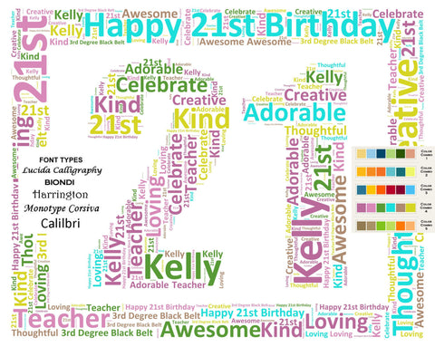 Personalized 21st Birthday Gift Word Cloud Art 8 X 10 Digital JPG Uniq