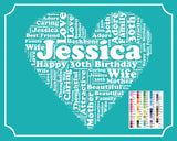 30th Birthday Gift Word Art 8 x 10 Thirty Birthday Print