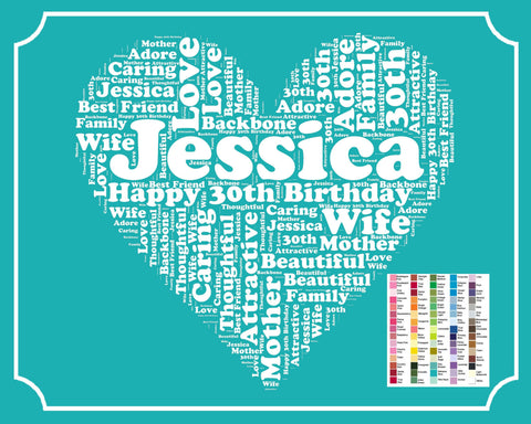 Personalized 30th Birthday Gift Word Art 30th Birthday Gift 8 x 10 Thirty Birthday Print Birthday Ideas