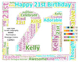 Personalized 21st Birthday Gift 21st Birthday Word Art 8 X 10 Print 21 Year Old Birthday Gift Ideas