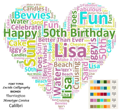 CUSTOM 50th Birthday Love Gift Heart Word Cloud Art 8 X 10 Print Unique Birthday Gifts
