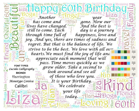 Personalized 60th Birthday Gift 60th Birthday Poem Word Cloud Art 8 X 10 Sixty Birthday Gifts Digital JPG