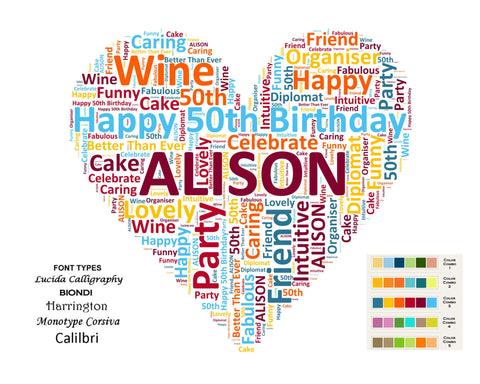 Personalized 50th Birthday Gift Fifty Heart Word Art 8 X 10 U