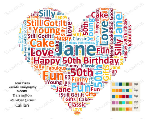 Personalized 50th Birthday Gift 50th Birthday Heart Word Art 8 X 10 Unique Fifty Birthday Gift Print DIGITAL DOWNLOAD JPG