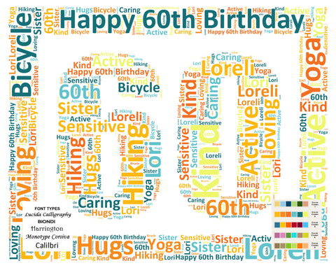 Personalized 60th Birthday Gift 60th Birthday Word Art 8 X 10 Unique Sixty Birthday Gift DIGITAL DOWNLOAD .JPG