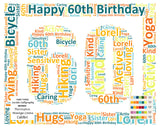 Custom 60th Birthday Gift 60th Birthday Word Art 8 X 10 Print Unique Sixty Birthday Gift Ideas