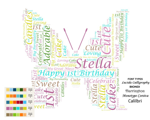 Personalized 1st Birthday Butterfly Gift Girl 8 X 10 Print Unique First Ideas