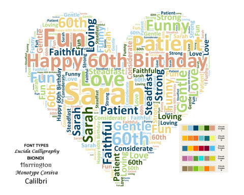 Custom 60th Birthday Gift 60th Heart Word Art 8 X 10 Print Unique Sixty Birthday Gift Ideas