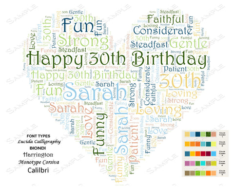 Personalized 30th Birthday Gift 30th Birthday Heart Word Art 8 X 10 Unique Thirty Birthday Gift Idea DIGITAL DOWNLOAD JPG