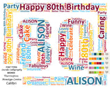 Personalized 80th Birthday Gift 80th Birthday Word Art 8 X 10 Print Eighty Birthday Gifts