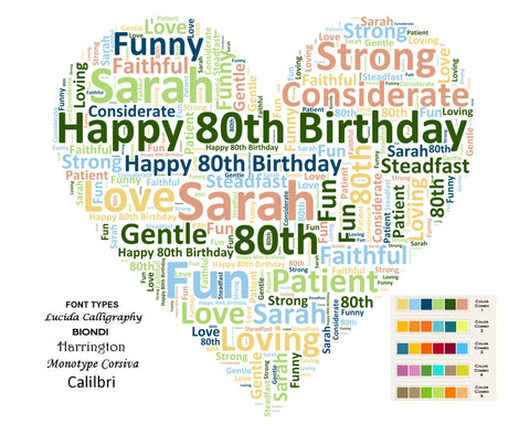 Custom 80th Birthday Gift Heart 80th Birthday Word Art 8 X 10 Unique Eighty Birthday Gift Ideas DIGITAL DOWNLOAD JPG -DesignbyWord.Com