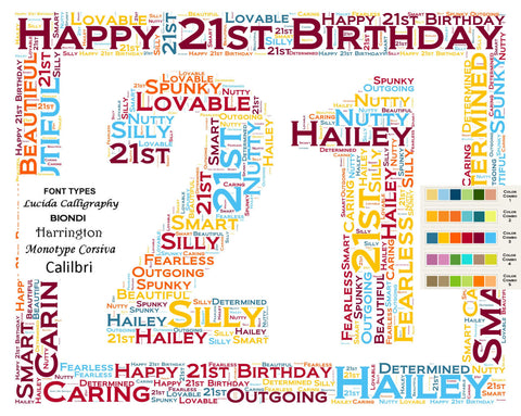 21st Birthday Gift. 21st Birthday Wordart 8 X 10 Print. 21 Year Old Birthday Gift Ideas