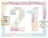 Custom 21st Birthday Gift 21st Word Cloud Art 8 X 10 Unique 21st Birthday Gift Digital JPG -DesignbyWord.Com