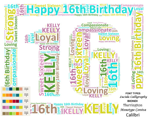 Personalized Sweet 16th Birthday Gift 16th Birthday Word Art 8 X 10 Print 16 Birthday DIGITAL DOWNLOAD .JPG