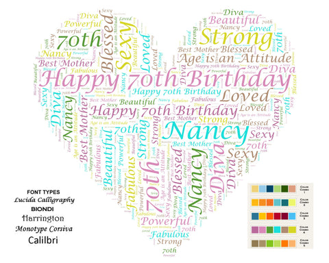 CUSTOM 70th Birthday Gift Heart 70th Birthday Word Art 8 X 10 Print Unique 70th Birthday Gifts -DesignbyWord.Com