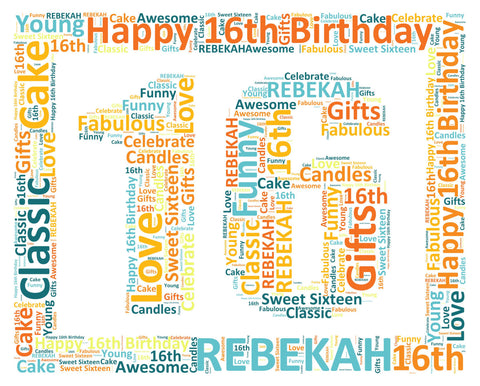 Personalized 16th Birthday Gift 16th Birthday Word Art 8 X 10 Sweet Sixteen Birthday Gifts Digital JPG