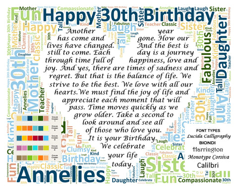30th Birthday Gifts. Personalized 30th Birthday Love Poem 8 X 10 Print