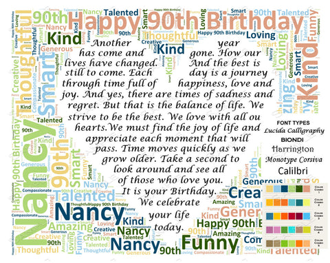 90th Birthday Gift. 90th Poem Wordart 8 X 10 Print. 90 Birthday Gifts