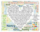 90th Birthday Poem Wordart 8 X 10 Digital Download .JPG. Unique 90th Birthday Gifts
