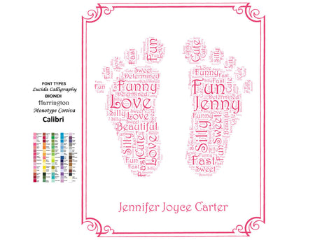 PERSONALIZED Word Art Footprints 8 x 10 Print Nursery Decor, Nursery Art Baby Room Art Decor, Baby Girl Nursery Room Wall Art Baby Girl Gift