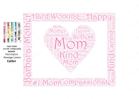 Mother's Day Gift - Gift for Mom Word Art - Mom Gift Ideas - Mother Mom Gifts 8 x 10 Print Mother's Day Word Art Gifts