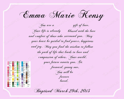 Christening Gift for Baby Girl. Christening Baby Boy Gift Poem 8 x 10 Print